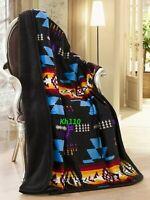 Southwest Navajo Print Black Throw Blanket Sherpa Native American Indian
