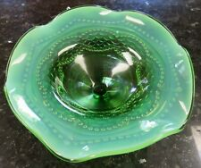 PEARLS AND SCALES Green Opalescent Compote c 1900 EAPG Jefferson Glass