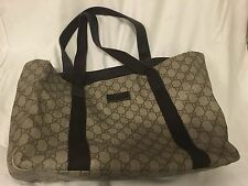 Authentic Gucci vinyl GG monogram and leather tote handbag purse shoulder bag