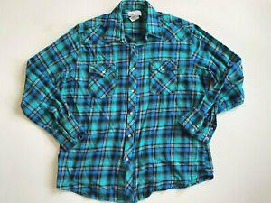 Wrangler Button Up Shirt Men's XL Wrancher Western Snap Up Blue Long Sleeve