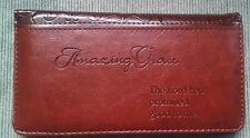 NEW Women's Christian AMAZING GRACE Brown Lux Leather CHECKBOOK COVER ID WINDOW