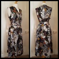 Tea Dress Bold Floral Print Belted Size 16