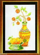 Counted Cross Stitch Kit RETRO ORANGES STILL LIFE DIY Chart Pattern Threads Incl