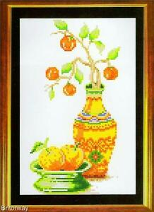 Counted CROSS STITCH Kit RETRO ORANGES STILL LIFE Includes Threads