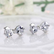 1Pair Elegant Bow 925 Sterling Silver Rhinestone Ear Stud Earrings Jewelry POP