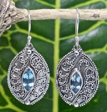 Handmade Sterling Silver .925 Oval Bali Swirl Dangle Earring w Blue Topaz Gems.