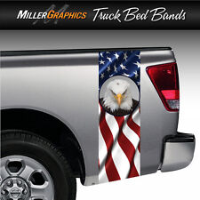 American Flag Bald Eagle #2 Truck Bed Band Decal Graphic Sticker Kit