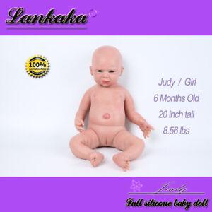 "20"" Full Solid Silicone Reborn Baby Dolls Lifelike for Children Birthday Gift"