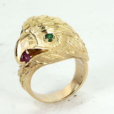 American Bald Eagle Ring Vintage 18k Gold Ruby Emerald Mens Estate Jewelry