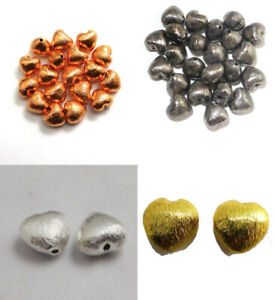 8MM 10MM HEART BRUSHED BEAD STERLING SILVER PLATED 18K GOLD PLATED 789