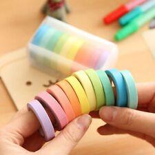 Rainbow Roll Washi Tape Sticky Paper Self Adhesive Writable DIY 10pcs/set