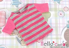 ☆╮Cool Cat╭☆87.【NS-12N】Blythe Pullip T-Shirt # Stripe Pink+Grey