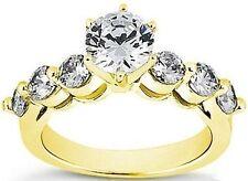 2.21 ct total Round DIAMOND Engagement 14k Yellow Gold Wedding Ring, 1 ct center