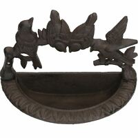 Wall Mounted Bird Bath Cast Iron Feeder Ornament Garden Feature Statue Fence