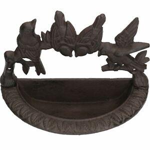 Wall Mounted Bird Bath Cast Iron Feeder Ornament Garden Feature Statue Fence