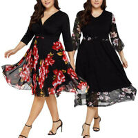 Women Plus Size Floral Chiffon Evening Cocktail Party Summer Short Mini Dress UK