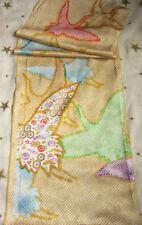 Vintage Japanese Wedding Kimono Silk Fabric Piece Flowers Crane 47ins