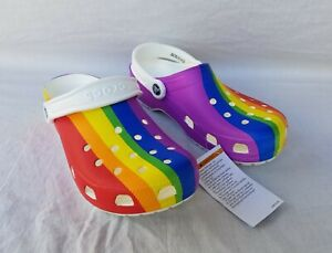 New Women's Crocs Classic Rainbow Stripe Clogs 206360 93R