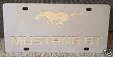 Ford Mustang GT chrome stainless steel vanity license plate tag horse gold