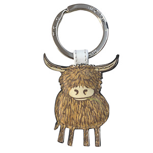 Highland Cow Leather keyring ladies with gift dustbag by Mala Leather 5147 33