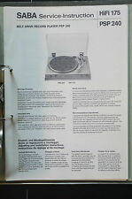 Saba PSP 240 ORIGINAL SERVICE MANUAL/Manual/Wiring Diagram top-condition