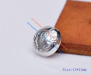 30x Silver Flower Carved Fast Rivet Studs Belt Bag DIY Leathercraft Concho 11mm