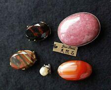 Vintage 5 items Japanese KIMONO Accessories OBIDOME Pearl Agate etc Japan #13363