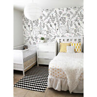 Non-Woven wallpaper Black and White Nursery Flowers Colorful Dots Kids room