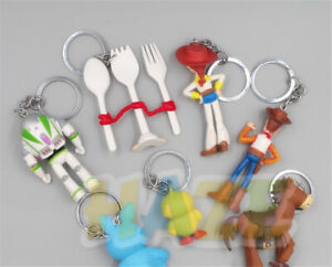 7pcs/set Toy Story 4 Keychain Woody Buzz Lightyear Keyring Pendant Toys New