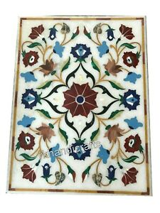 Marble Coffee Table Top Hand Inlaid Corner table with Floral Work 18 x 30 Inches