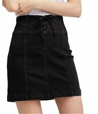 Free People Womens Lace-Up Black Denim Skirt Size 8 NEW NWT