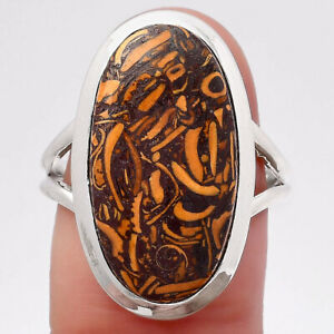 Natural Coquina Fossil Jasper - India 925 Sterling Silver Ring s.7 Jewelry E052