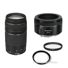 2 LENS KIT Canon EF 50mm f/1.8 STM + EF 75-300mm f/4-5.6 Zoom Lens + Filters,