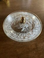 Vintage Mid Century Glass Vanity Trinket Box Jewelry Powder Jar Dish Lid