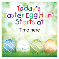 2ft Happy Easter Party Egg Hunt Starts At PVC Square Sign Banner Decoration