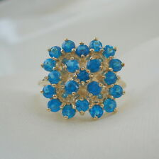 1.35ct Certified Neon Blue Apatite Cluster Gold Ring