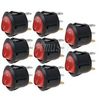 8 Pcs Round Red 3 Pin SPST ON-OFF Rocker Switch With Neon Lamp