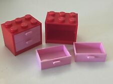 *NEW* 2 Sets Lego RED Container CUPBOARD 2x3x2 with PINK DRAWERS 4532 4536