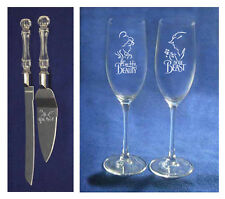 Beauty and the Beast Wedding Glasses Flutes plus knife cake server belle NEW