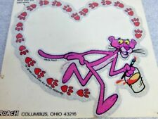 Nos DeadStock Vintage 1980 ROACH Pink Panther Glitter Glam Heart Cartoon Sticker