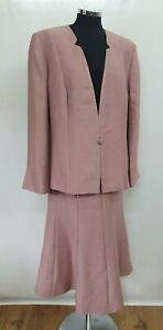 Jacques Vert pale pink skirt suit 20 jacket long skirt collarless embroidered