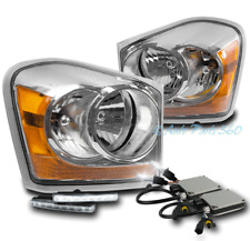 04-05 DODGE DURANGO CRYSTAL REPLACEMENT HEADLIGHTS LAMPS CHROME W/DRL LED+6K HID