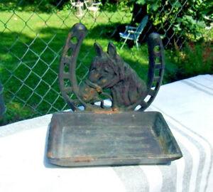 Vintage Cast Iron Soap Holder Dish Horse & Horseshoe