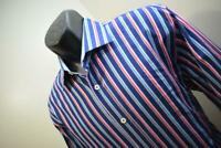 38079 Mens Bugatchi Uomo Shaped Fit Striped Button Up Dress Shirt Size Large