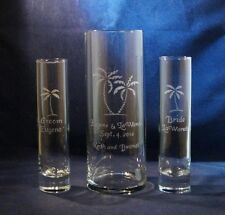 3 pc Wedding Unity Sand Ceremony Set w 9 x 3 vase w Palm Trees