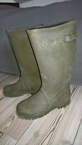Grüne hohe Steel Shank Gummistiefel Gr. 42 (eher 43), Neoprenfutter, Schnalle