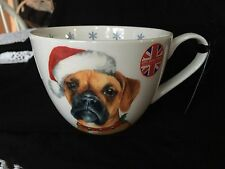 Portobello By Inspire LG Coffee CUP BOXER DOG HAPPY HOLIDAYS CHRISTMAS NEW