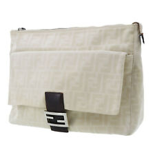 FENDI Zucca Pattern Clutch Ivory Beige Canvas Vintage Italy Authentic #AB43 S