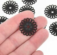 10 MATTE BLACK Filigree Charms, Connector Links, Findings, 23mm, chs4760
