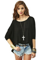 Women's Plain Loose Fit Draped Oversized T Shirt Batwing Slouch Top 8 - 18 tp17L
